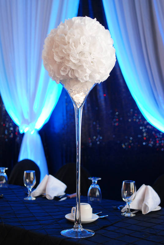 Rose Ball & Martini Vase Centerpiece