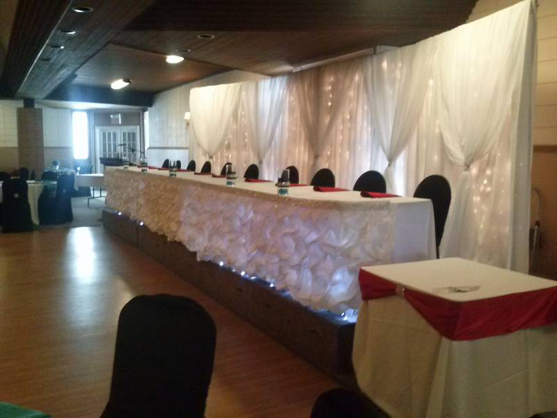 Backdrop with hourglass sheer. Headtable with satin pouf skrirting & rhinestone top band. Full lighting to the floor.