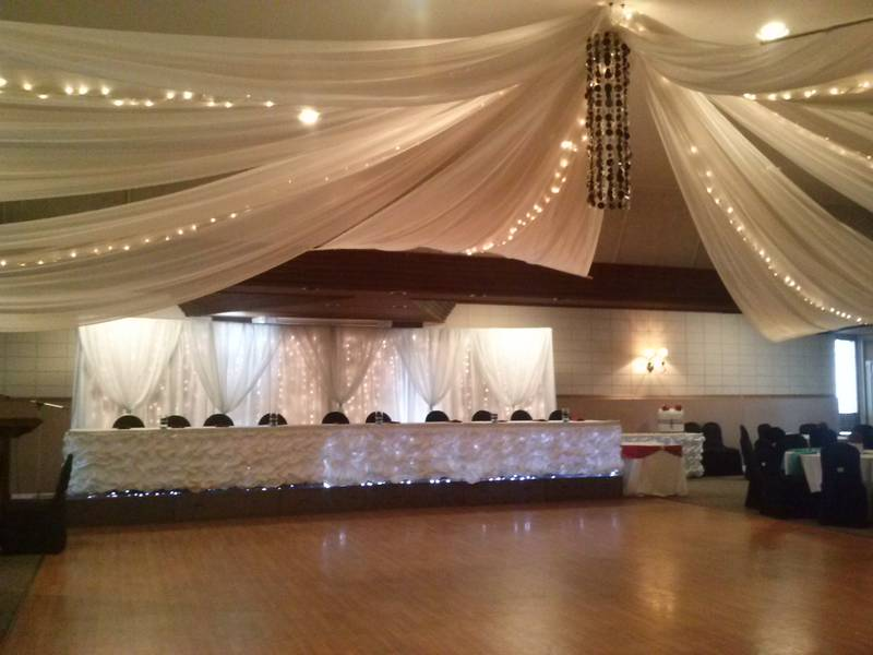Ceiling canopy with chandelier. Backdrop and head table package