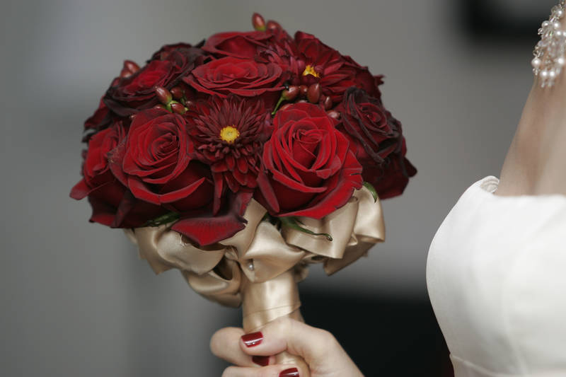 stunning red rose bridal bouquet