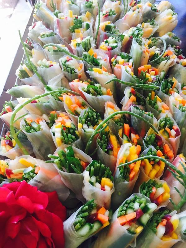 Sea Asparagus veggie rice wraps
