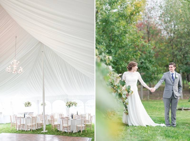 white tented backyard wedding