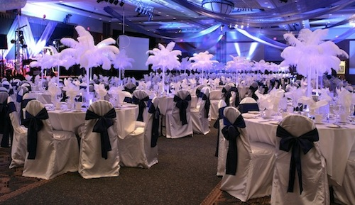 Elegant Decor, chair covers, table linens, centerpieces, lighting